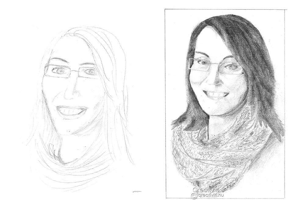 Önarckép a jobb agyféltekés rajzolás előtt és után