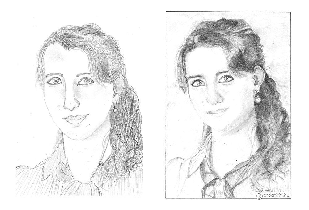 A jobb agyféltekés rajzolás módszere előtti és utána önarckép